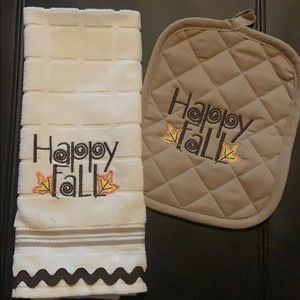 Happy Fall 🍁 Custom Embroidered 2pc Kitchen Set